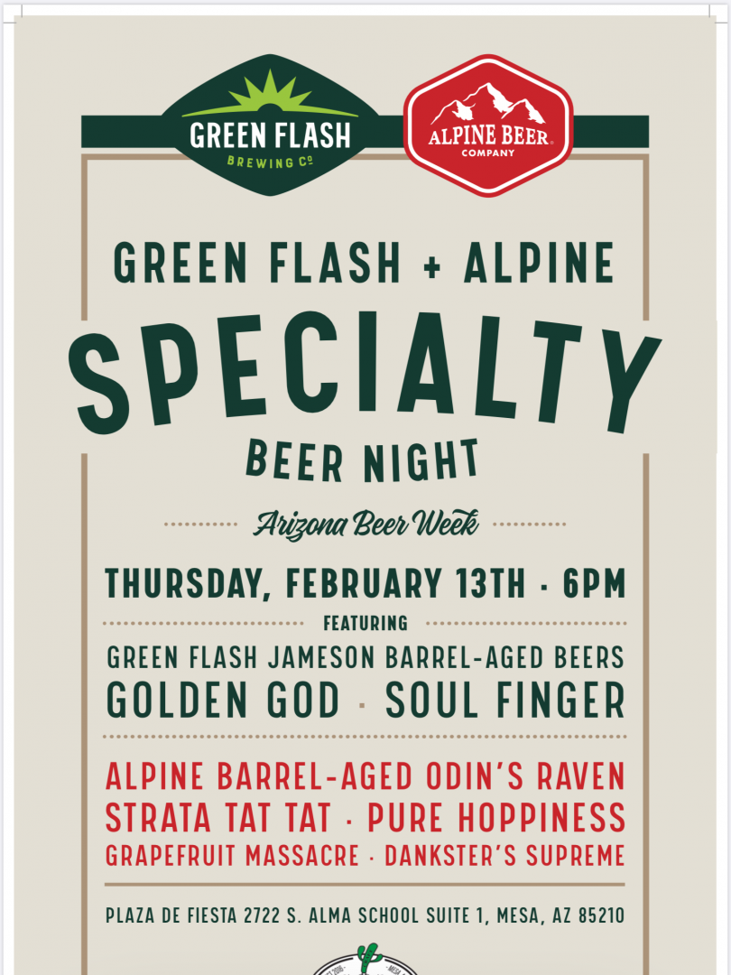 Alpine and Greenflash Specialty Beer Night at Tipsy Cactus