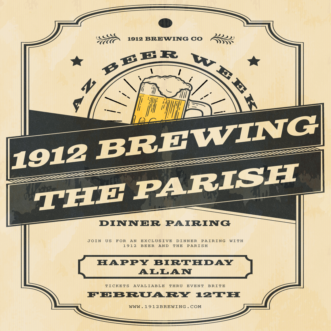 1912 Brewing Co x The Parish Dinner Pairing